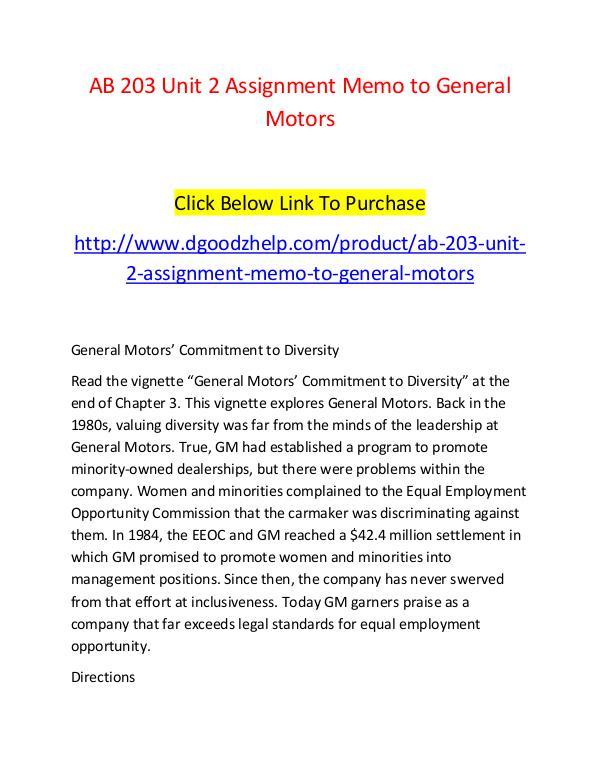AB 203 Unit 2 Assignment Memo to General Motors-Dgoodzhelp.com AB 203 Unit 2 Assignment Memo to General Motors-Dg
