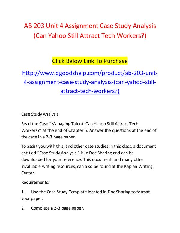 AB 203 Unit 4 Assignment Case Study Analysis (Can Yahoo Still Attract AB 203 Unit 4 Assignment Case Study Analysis (Can
