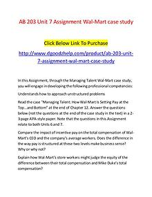 AB 203 Unit 7 Assignment Wal-Mart case study-Dgoodzhelp.com