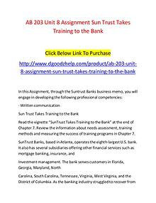 AB 203 Unit 8 Assignment Sun Trust Takes Training to the Bank-Dgoodzh