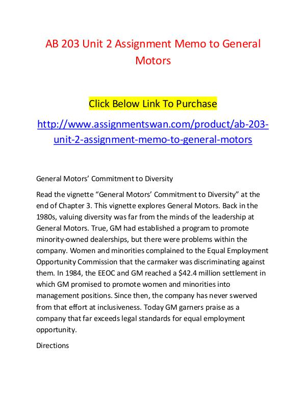 AB 203 Unit 2 Assignment Memo to General Motors-Assignmentswan.com AB 203 Unit 2 Assignment Memo to General Motors-As