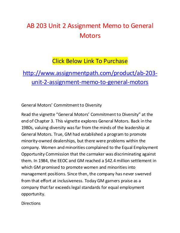 AB 203 Unit 2 Assignment Memo to General Motors-Assignmentpath.com AB 203 Unit 2 Assignment Memo to General Motors-As