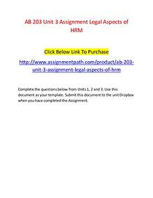 AB 203 Unit 3 Assignment Legal Aspects of HRM-Assignmentpath.com
