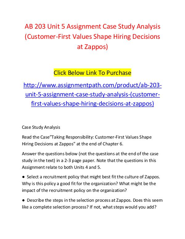 AB 203 Unit 5 Assignment Case Study Analysis (Customer-First Values S AB 203 Unit 5 Assignment Case Study Analysis (Cust
