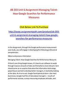 AB 203 Unit 6 Assignment Managing Talent-How Google Searches for Perf