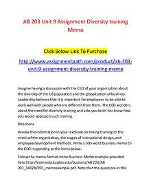 AB 203 Unit 9 Assignment Diversity training Memo-Assignmentpath.com
