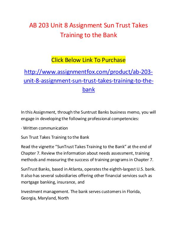 AB 203 Unit 8 Assignment Sun Trust Takes Training to the Bank-Assignm AB 203 Unit 8 Assignment Sun Trust Takes Training