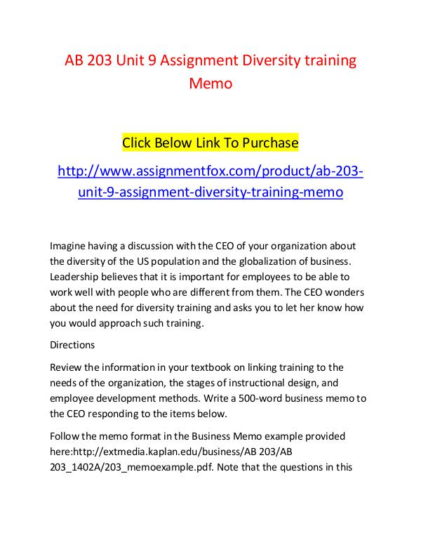 AB 203 Unit 9 Assignment Diversity training Memo-Assignmentfox.com AB 203 Unit 9 Assignment Diversity training Memo-A