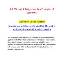 AB 204 Unit 1 Assignment Ten Principles of Economics