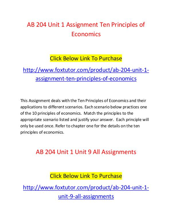 AB 204 All Assignments AB 204 All Assignments