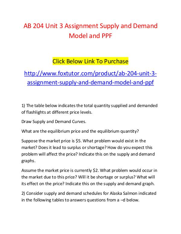 AB 204 Unit 3 Assignment Supply and Demand Model and PPF AB 204 Unit 3 Assignment Supply and Demand Model a