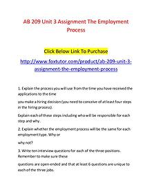 AB 209 Unit 3 Assignment The Employment Process