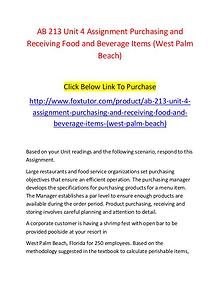 AB 213 Unit 4 Assignment Purchasing and Receiving Food and Beverage I