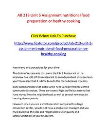 AB 213 Unit 5 Assignment nutritional food preparation or healthy cook