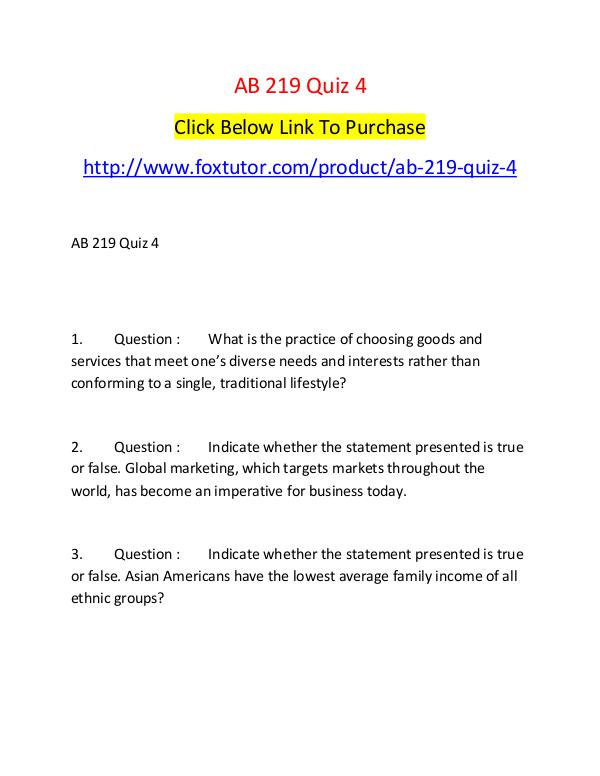 AB 219 Quiz 4 AB 219 Quiz 4