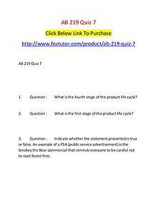 AB 219 Quiz 7