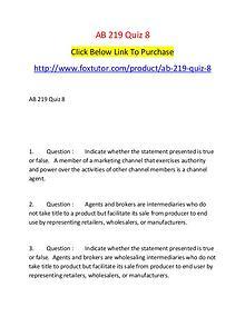 AB 219 Quiz 8