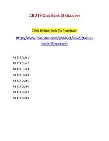 AB 219 Quiz Bank (8 Quizzes)