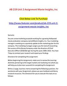 AB 219 Unit 2 Assignment Movie Insights, Inc