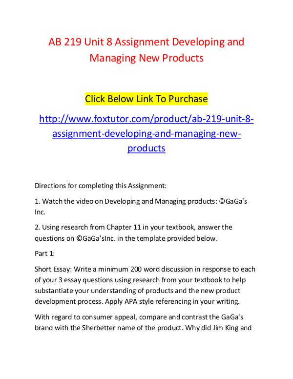 AB 219 Unit 8 Assignment Developing and Managing New Products AB 219 Unit 8 Assignment Developing and Managing N