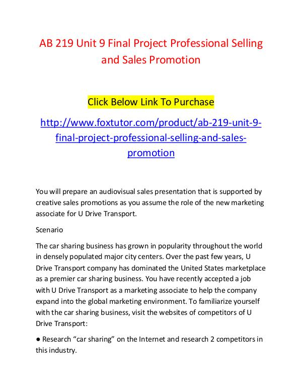 AB 219 Unit 9 Final Project Professional Selling and Sales Promotion AB 219 Unit 9 Final Project Professional Selling a