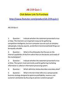 AB 219 Quiz 1