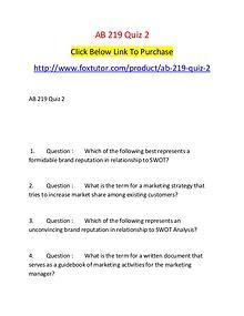 AB 219 Quiz 2