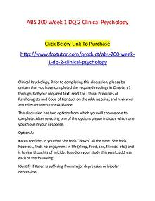 ABS 200 Week 1 DQ 2 Clinical Psychology