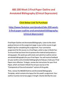 ABS 200 Week 3 Final Paper Outline and Annotated Bibliography (Clinic