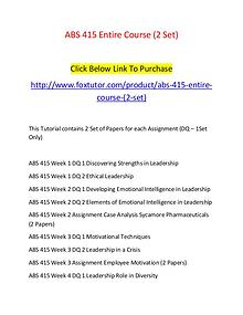 ABS 415 All Assignments
