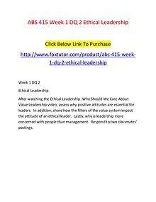 ABS 415 Week 1 DQ 2 Ethical Leadership