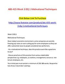 ABS 415 Week 3 DQ 1 Motivational Techniques