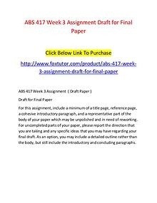 ABS 417 Week 3 Assignment Draft for Final Paper
