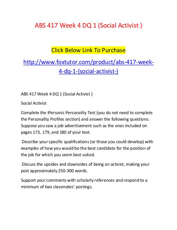 ABS 417 Week 4 DQ 1 (Social Activist ) ABS 417 Week 4 DQ 1 (Social Activist )