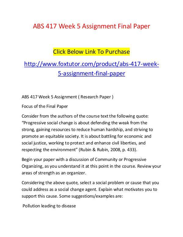ABS 417 Week 5 Assignment Final Paper ABS 417 Week 5 Assignment Final Paper
