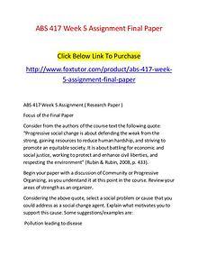ABS 417 Week 5 Assignment Final Paper