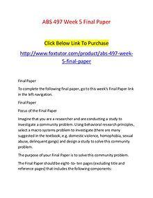 ABS 497 Week 5 Final Paper