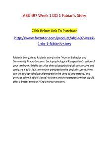 ABS 497 Week 1 DQ 1 Fabian's Story