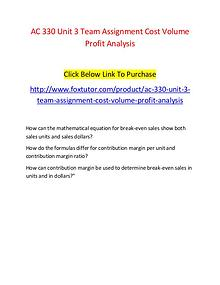 AC 330 Unit 3 Team Assignment Cost Volume Profit Analysis