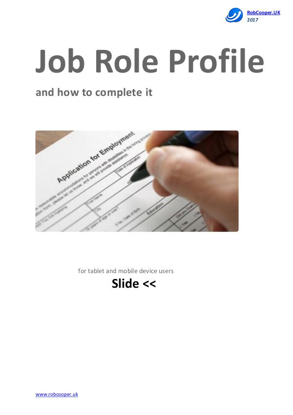 Job Interview Techniques by www.robcooper.uk Job Role Profile and how to complete it