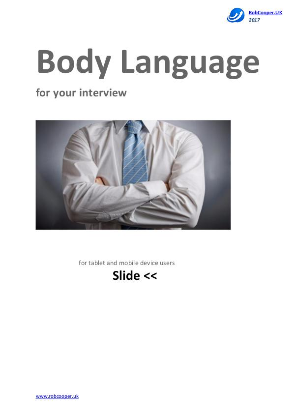 Job Interview Techniques by www.robcooper.uk Body Language for your interview