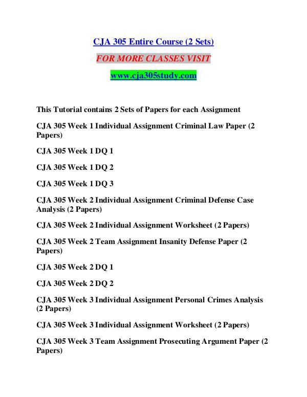 CJA 305 STUDY creative knowledge /cja305study.com CJA 305 STUDY creative knowledge /cja305study.com