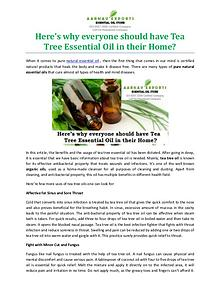Here's why everyone should have Tea Tree Essential Oil in their Home?