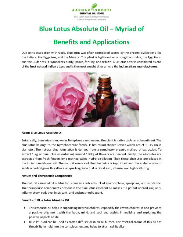 Blue Lotus Absolute Oil – Myriad of Benefits and Applications Blue Lotus Absolute Oil – Myriad of Benefits and A