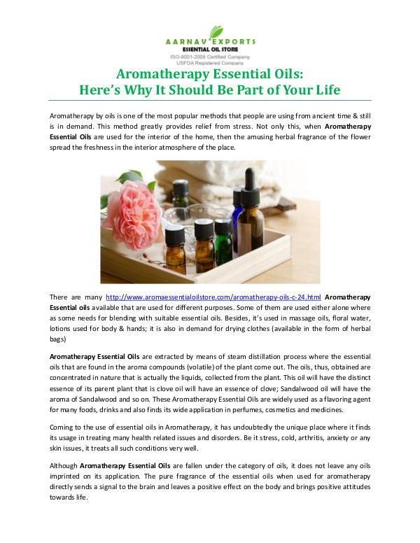 Aromatherapy Essential Oils: Here's Why It Should Be Part of Your Lif Aromatherapy Essential Oils Here's Why It Should B