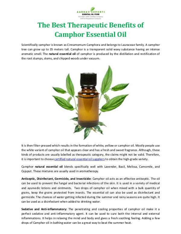 The Best Therapeutic Benefits of Camphor Essential Oil