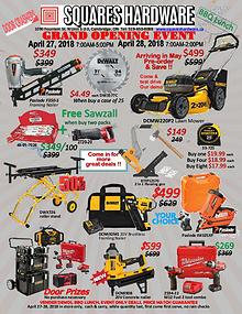 Squares Hardware Grand Opening Flyer