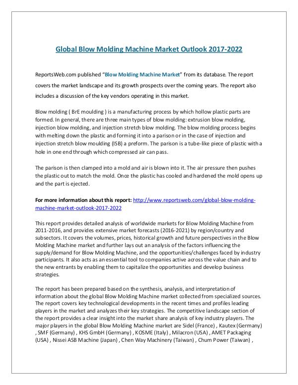 Global Blow Molding Machine Market Outlook 2017