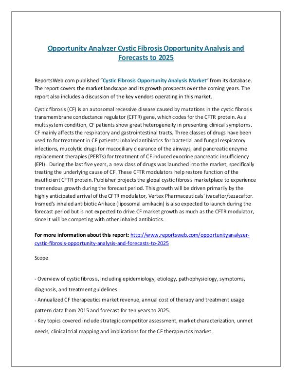 ReportsWeb- Opportunity Analyzer Cystic Fibrosis Opportunity A