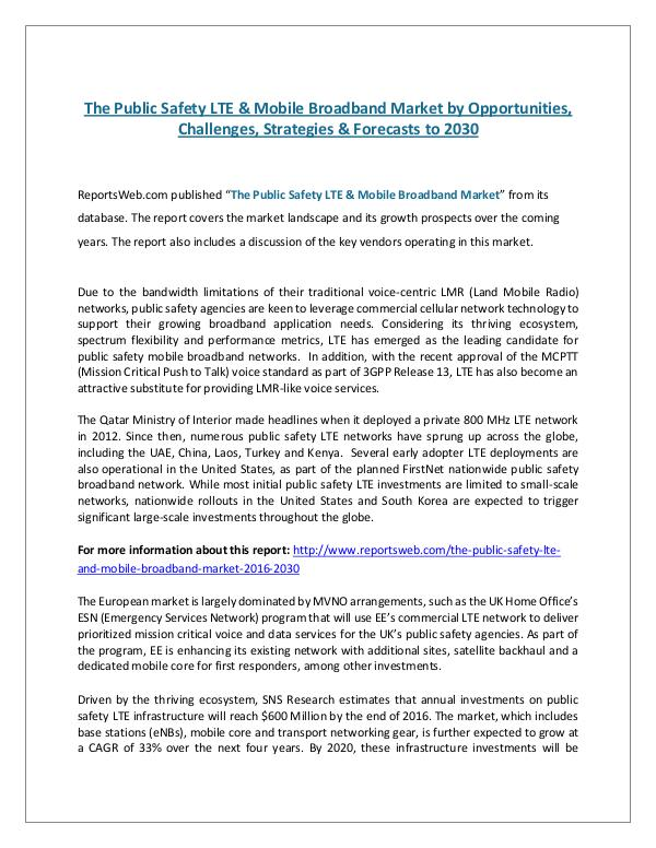 ReportsWeb- The Public Safety LTE & Mobile Broadband Market by